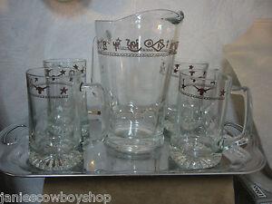 Western-Decor-Glassware-60-oz-Pitcher-Brands-Set-4-Longhorn-Star-15oz-Beer-Mugs