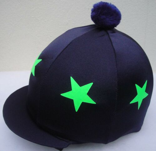 LIME GREEN STARS With OR w//o Pompom Riding Hat Silk Skull cap Cover NAVY BLUE