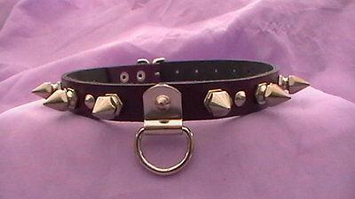 purple spikes fetish collar bondage  slave 14-17inch real leather