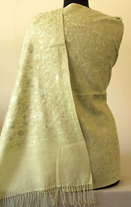 Crewel-Embroidery-Pale-Green-on-Pale-Green-Wool-Shawl