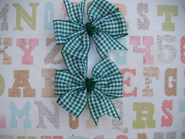 Girls School Gingham, check, hair bobbles, bows,elastic