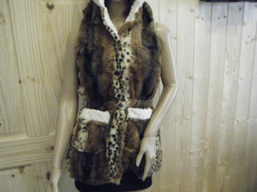 Femmes mode fausse fourrure animal imprimé léopard longue ligne sans manches avec capuche 8-12