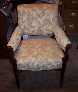 Carved-Walnut-Armchair-Parlor-Chair-gold-leaf-print-chenille-AC79