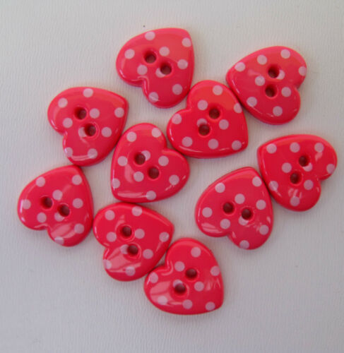 10 x spotty heart buttons choice of 6 colours for craft// sewing// decoration *