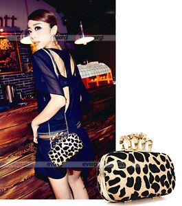 New-Skull-Knuckle-Ring-Leopard-Handbag-Party-Evening-Bag-Clutch-Purse-FB0197A
