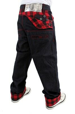 DIRTY MONEY Scottish Checkered Jeans Raw Plaid Loose Fit Hip Hop Blue Trousers