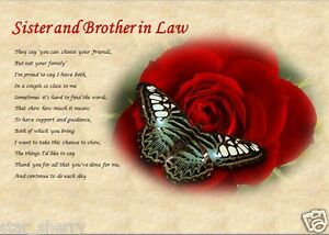 Image Is Loading SISTER Amp BROTHER IN LAW Personalised Poem Laminated
