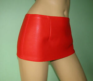 Red-fake-leather-micro-hipster-mini-skirt-all-sizes-free-UK-delivery
