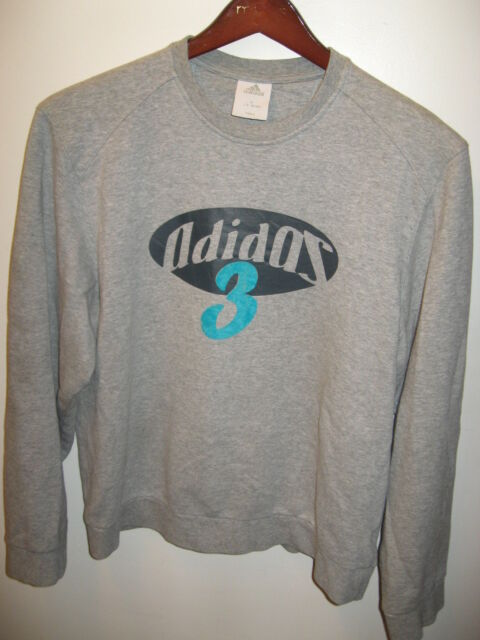 Adidas 3 Three Stripe Japan Retro Gray Gym Cotton Fleece Crew Sweatshirt XL/L