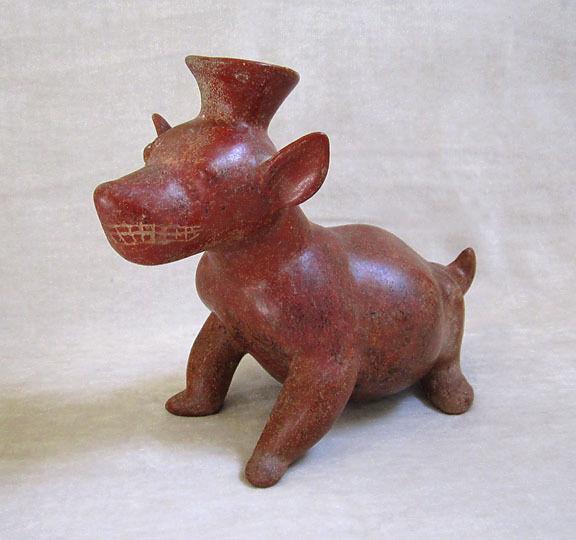 LARGE Pre-Columbian COLIMA TERRACOTTA SEATED DOG VESSEL, circa 300 B.C.