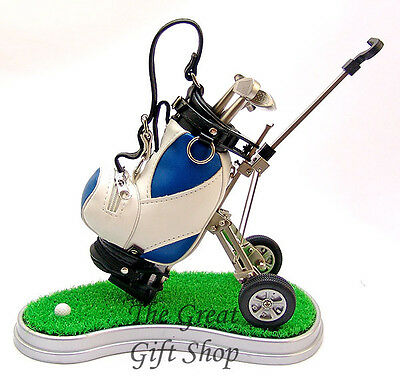 NEW DESKTOP GOLF TROLLEY PEN HOLDER SET Golfers Writing Desk Pens Gift £15 OFF
