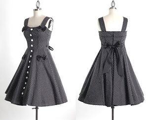 50s-Pinup-Polka-Dot-Tea-Dress-Size-L-Vintage-Swing-Pocket-Bow-Rockabilly-Dress