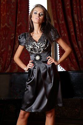 New Ladies Vintage Cocktail Party Formal Wedding Classic Brooch Dress UK 8 - 18