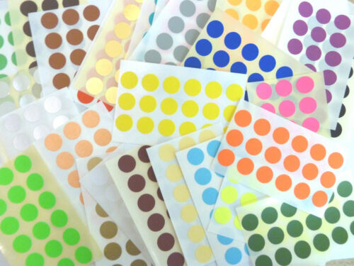 13mm Round dot Stickers Coloured Circles Small Circular Sticky Labels 33 colours