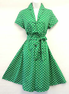 New-Green-Polka-Dot-WWII-1940-s-Vintage-style-classic-Shirt-Swing-Tea-Dress