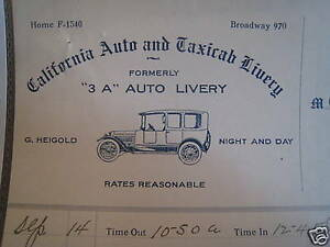 1915 Los Angeles Californina CA Heigold TAXI Bill Head