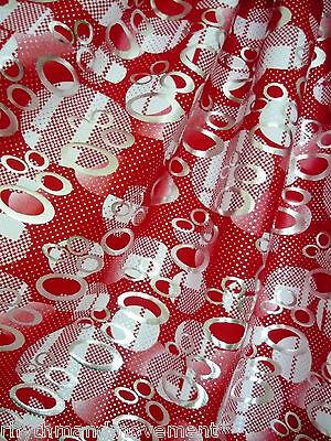 Dance Costume Lycra Fabric Saturn Red & Silver Foil 50cm - 150cm wide