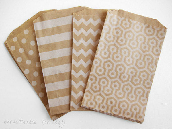 "50 Kraft Paper Favor Bags,5 x7.5"" Polka Dots, Stripes, Honeycomb, Candy Buffet"