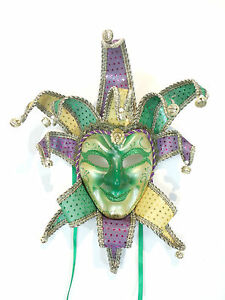 Purple yellow joker venetian masquerade mardi gras carnival party c32