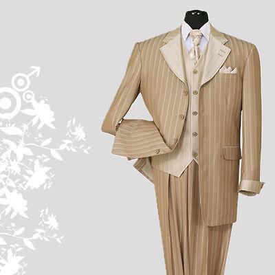 Men's 3 piece Luxurious Classic Gangster Pinstripe Wool Feel Suit Tan sty-2911