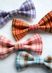 Dog-Cat-Bow-Tie-Ready-To-Wear-on-Collar-Plaid-Pattern-Choose-Color-and-Size