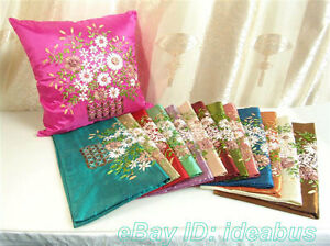 Satin-Cushion-Cover-Pillow-Case-Hand-Ribbon-Embroidered-Floral-Design-YBS982