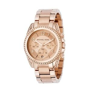 NEW-Authentic-Michael-Kors-Rose-Gold-Glitz-Blair-Chronograph-Watch-MK5263