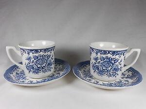 Royal-Straffordshire-J-amp-G-Meakin-China-2-Tea-Cups-amp-2-Saucers-England-Flow-Blue