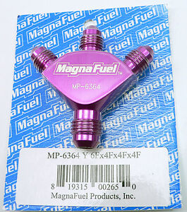 MP-6364-Magnafuel-Triple-Y-Fitting-6-AN-x-4-AN-x-4-AN-x-4-AN-Male-Purple