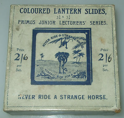 NEVER RIDE A STRANGE HORSE - BOXED SET OF 8 MAGIC LANTERN SLIDES c1890