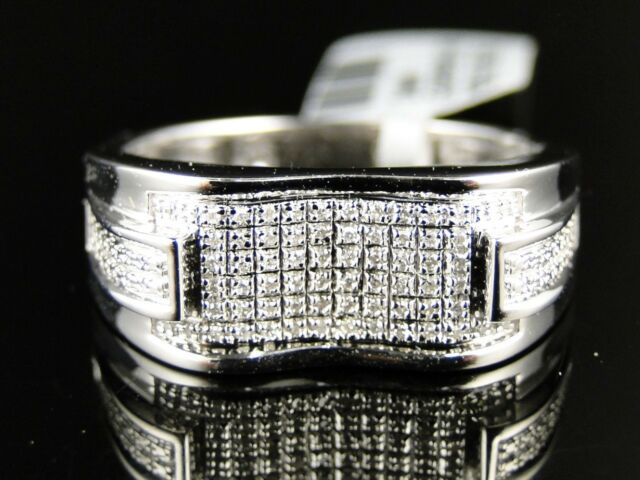 Mens .925 White Gold Finish Genuine White Diamond Pave Setting Ring .30 Ct