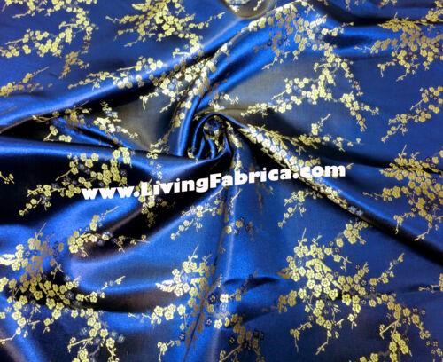 ROYAL BLUE & GOLD FAUX SILK SHANTUNG CHERRY BLOSSOM BROCADE FABRIC DRESS DRAPE