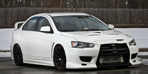Mitsubishi White evo X on Black Wheels HD Poster Print multiple sizes available