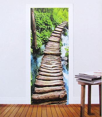 Tür Fototapete Brücke Landschaft Wald Natur Tür Tapete Tür Poster Bild Tapete