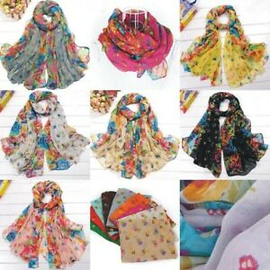 Fashion-Women-Voile-Scarf-Wraps-Shawl-Stole-Soft-Scarve-Flower-7color-J03