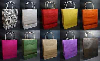 Medium Kraft Shopping Gift Handle Wedding Favor Paper Bag Bags-10 Colors