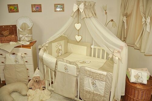 LUXURY 7pcs BABY BEDDING SET TO FIT BABY COT or COTBED// TEDDY BEAR  AND HEART