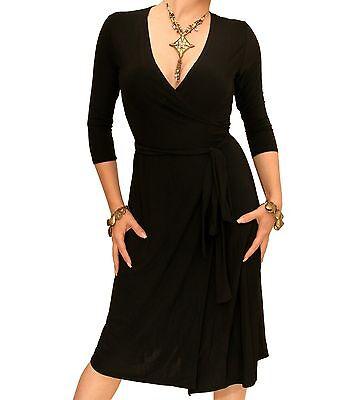 New Elegant Slinky V Neck Wrap Dress - 3/4 Length Sleeve FAULTY