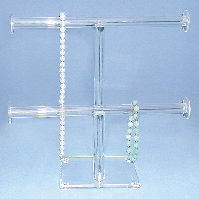 CLEAR ACRYLIC  DUAL T-Bar DISPLAY NECKLACE DISPLAY BRACELET DISPLAY ACRYLIC