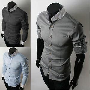2012-Men-039-s-Slim-Dress-Shirts-Fit-Casual-Stylish-Shirt-XS-L-3-Colors-Free-Ship