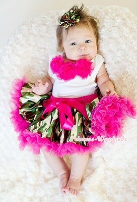 Baby Hot Pink Camo Camouflage Pettiskirt Hot Pink Rose White Top Set 3-12Month