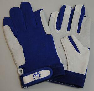 Segelhandschuh<wbr/>e M Leder/2 Finger-Beschni<wbr/>tt-weiß/blau Segeln-NEU-OVP Kalbsleder