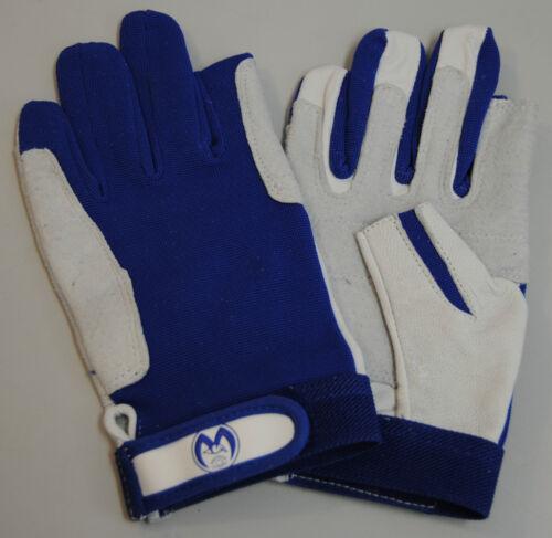Segelhandschuhe M Leder/2 Finger-Beschnitt-weiß/blau Segeln-NEU-OVP Kalbsleder Handschuhe
