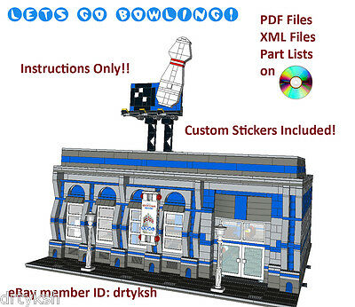 Custom Lego Modular Building Instruction Set Bowling Alley with Sticker Set