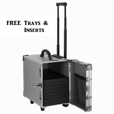 MEDIUM ALUMINUM JEWELRY CARRYING CASE TRAVEL ROLLING CASE w/FREE 12 TRAY&INSERTS