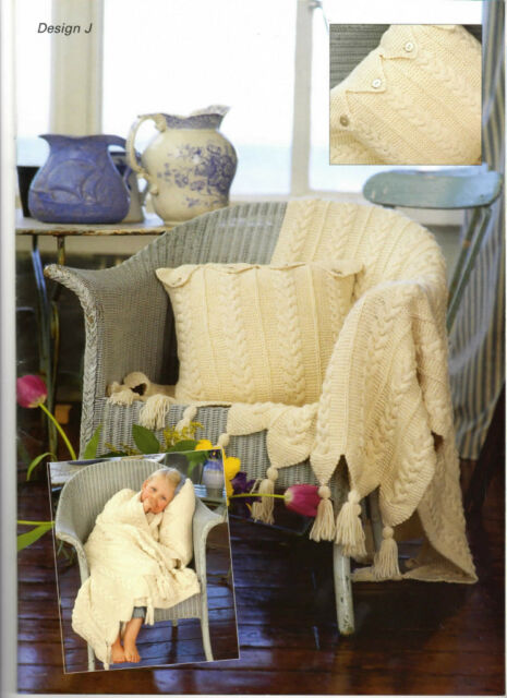 Aran Throws, Cushion and duffle Bag Pattern- nice pattern to knit up