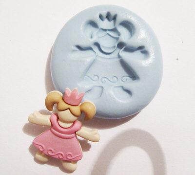Girl Princess Flexible Silicone Push Mold Polymer clay Resin food Miniature wax