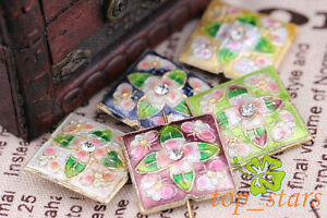 50-PCS-Mix-colour-Cloisonne-rectangle-Flowers-Butterfly-Spacers-Beads-22mm-CL35