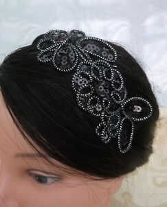 BLACK-APPLIQUE-SEQUIN-FLOWER-ALICEBAND-vintage-wedding-races-hair-accessories