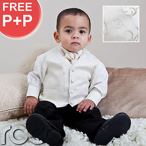 Baby-Boys-Ivory-Suit-Wedding-Pageboy-Prom-Waistcoat-Suits-Age-0-3m-12-years